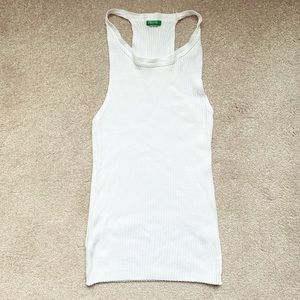 White knit racer back tank top